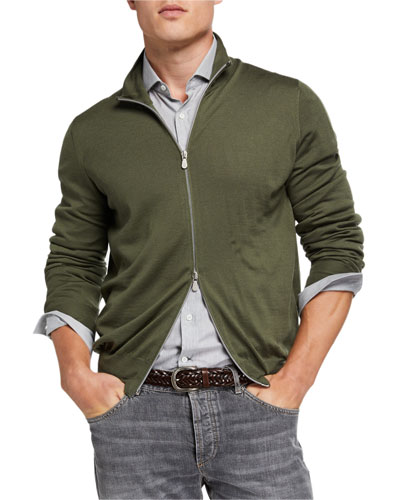 Men's Fine-Gauge Zip-Front Sweater