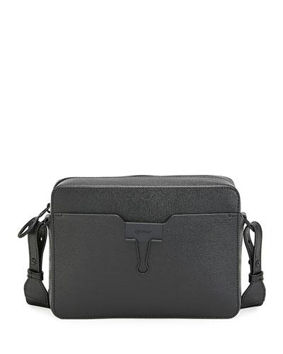 Men's Web-Strap Leather Camera Bag