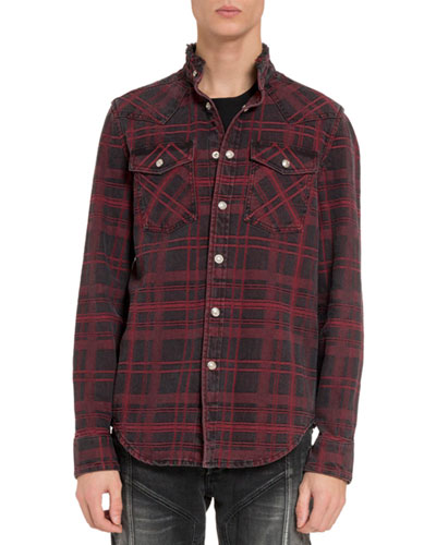 Men's Plaid Stonewashed Denim Sport Shirt