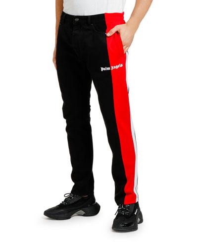 Men's Track-Trim Tapered Jeans