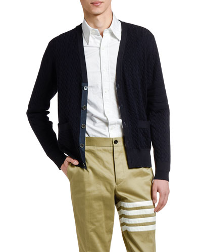 Men's Cable-Knit Wool Cardigan