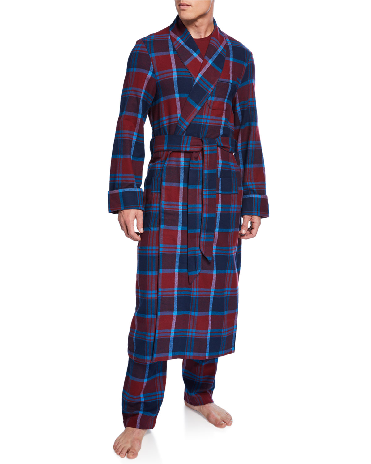 Derek Rose Tops MEN'S KELBURN 7 PLAID ROBE