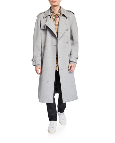 Men's Double-Breasted Jersey Trench Coat