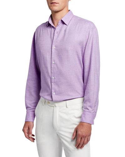 Men's Solid Brushed-Cotton Sport Shirt