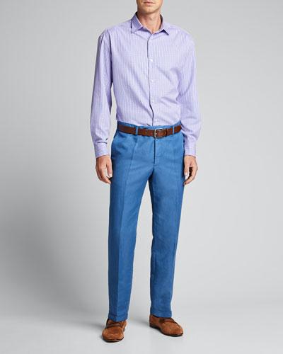 Men's Brush Checked Cotton Sport Shirt