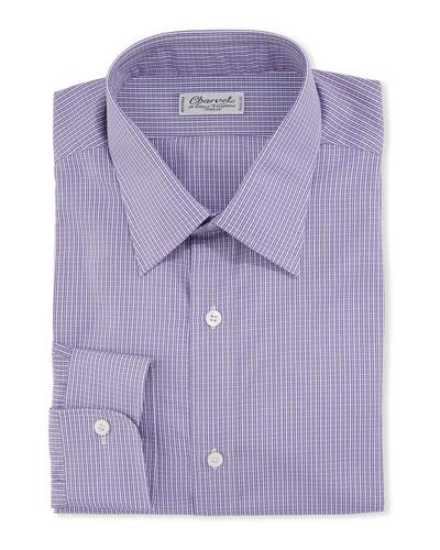Men's Checker Cotton Dress Shirt