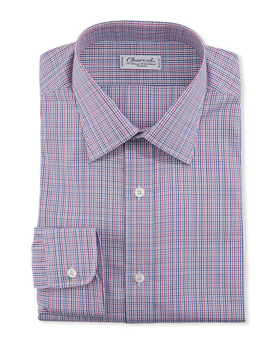 Men's Two-Tone Checker Cotton Dress Shirt