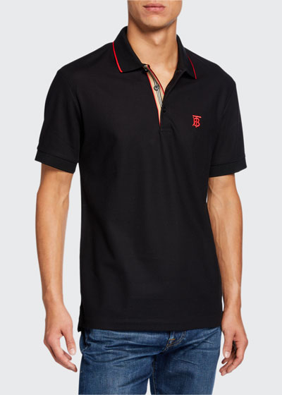 Men's Icon Stripe-Placket Polo Shirt, Black