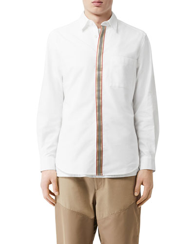 Men's Icon Stripe Tape Concealed-Placket Oxford Shirt