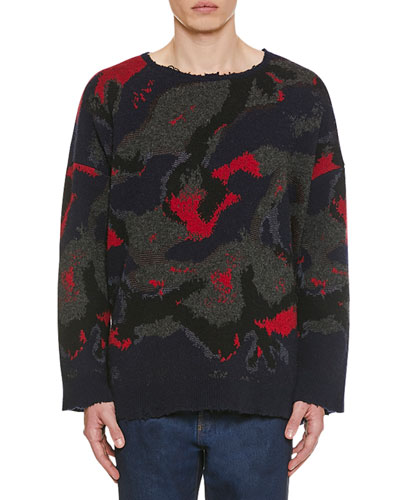 Men's Destroyed Camo Wool Sweater