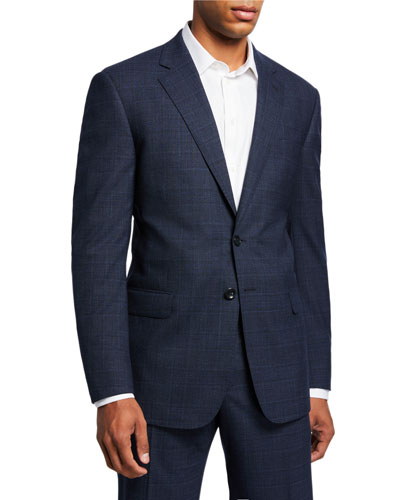 Men's Melange Plaid Two-Piece Suit