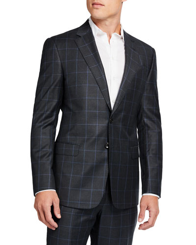 Men's Windowpane Check Two-Piece Wool Suit