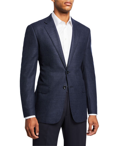 Men's Textured Wool Two-Button Jacket