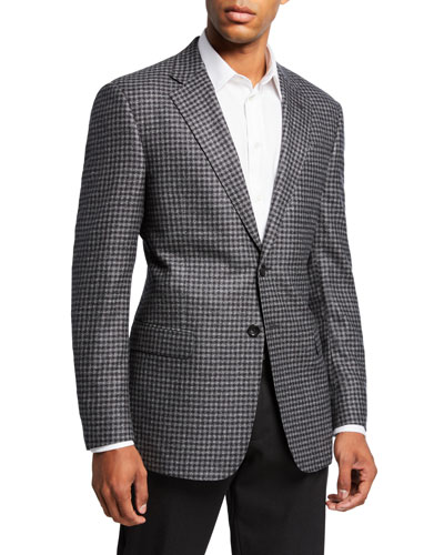 Men's Check Wool Two-Button Sport Coat