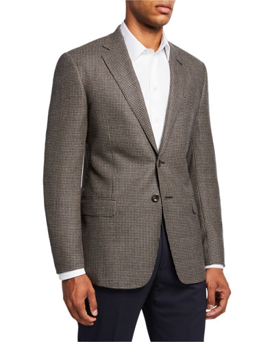 Men's Mini-Check Wool Two-Button Sport Coat, Brown