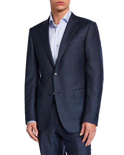 Men's Solid Wool-Silk Two-Piece Regular-Fit Suit