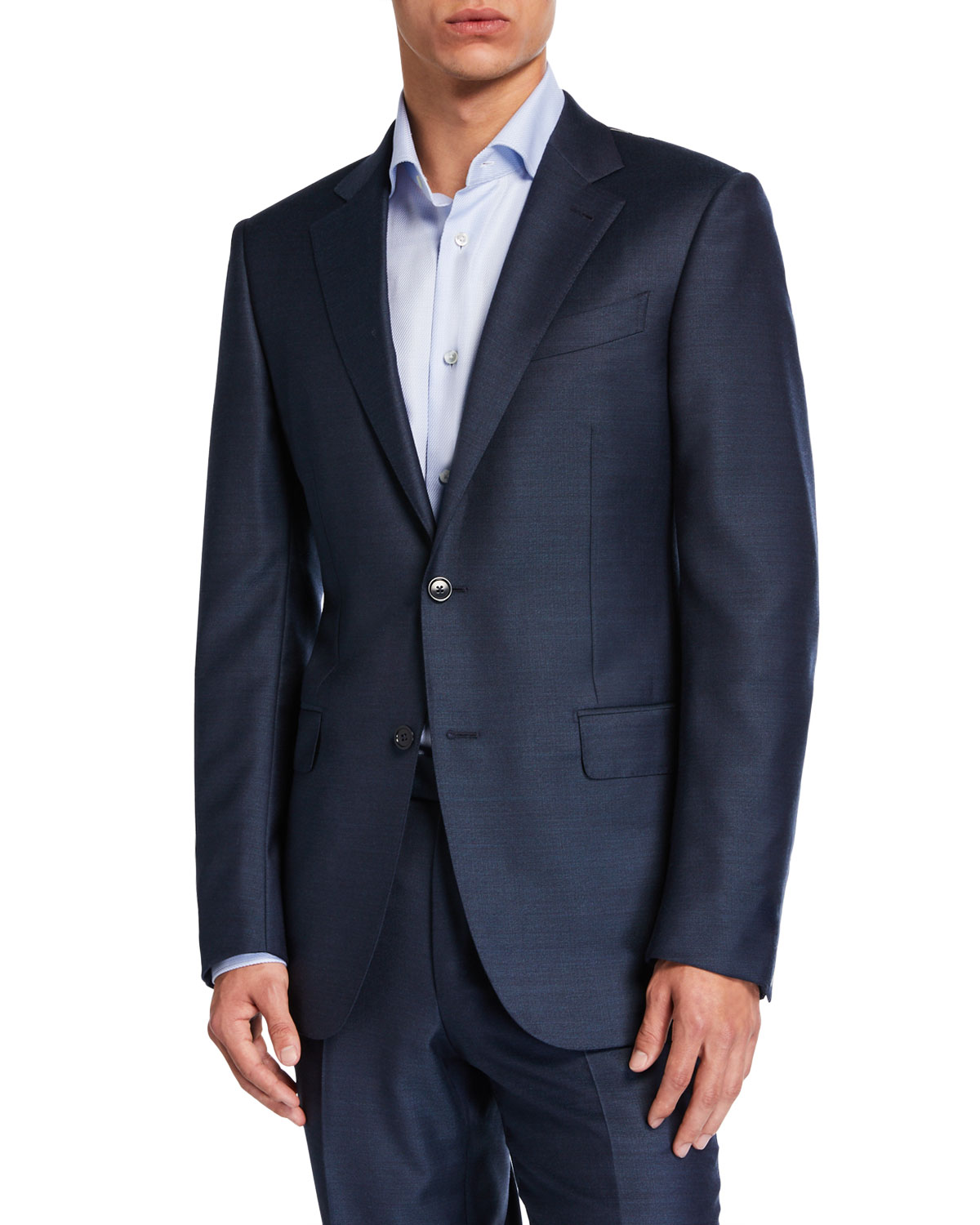 Ermenegildo Zegna Beachwear MEN'S SOLID WOOL-SILK TWO-PIECE SUIT