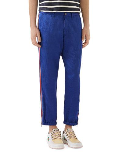 Men's Linen Satin Blend Trousers