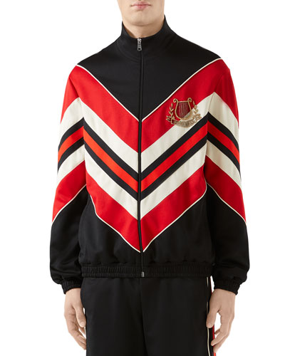 Men's Chevron Jersey Track Jacket w/ Logo