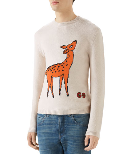Men's Deer Graphic Crewneck Sweater