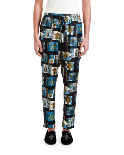 Men's Crest-Print Silk Pajama Pants