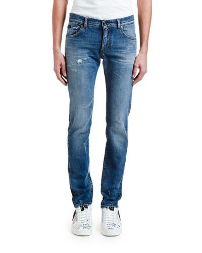 Men's Distressed Straight-Leg Stretch-Denim Jeans