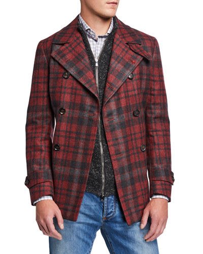 Men's Plaid Wool Pea Coat