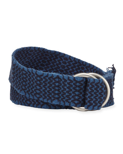 Men's Double D-Ring Chevron Belt, Blue