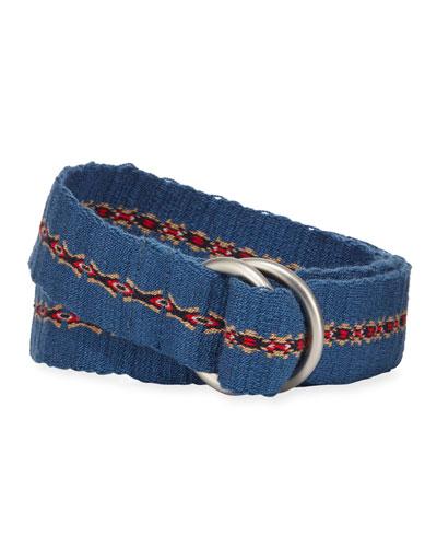 Men's Double D-Ring Ikat Belt, Blue/Red