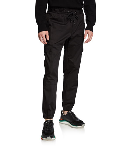 Men's Stretch-Cotton Cargo Sweatpants with Side Stripes
