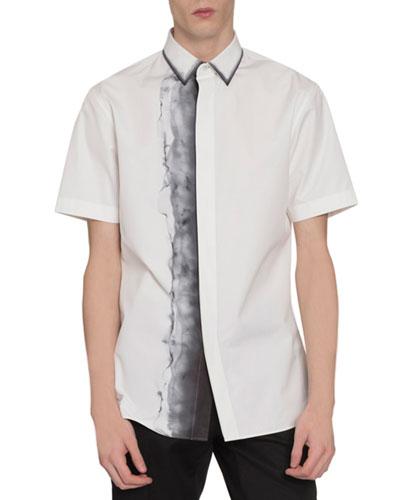 Men's Smoke-Print Short-Sleeve Sport Shirt