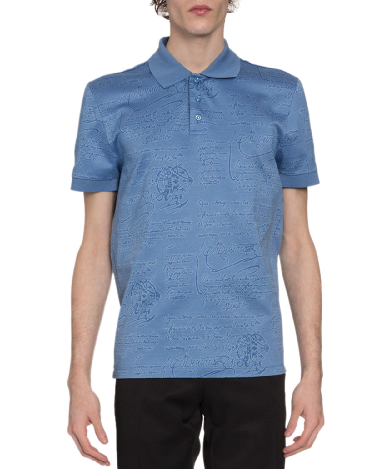 Berluti T-shirts MEN'S SCRITTO-PRINT POLO SHIRT