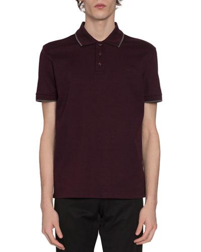 Men's Tipped Basic Pique-Knit Polo Shirt, Purple