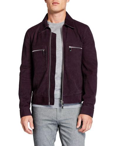 Men's Suede Jacket w/ Silvertone Hardware