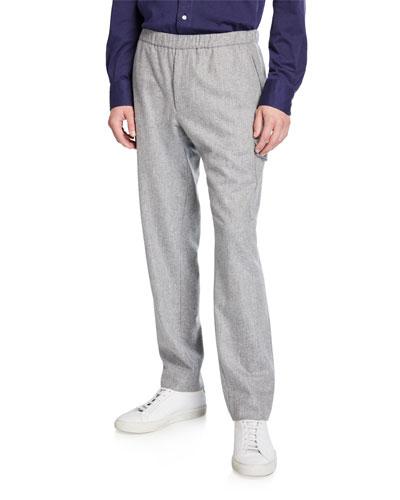 Men's Virgin Wool Flannel Cargo Jogger Pants