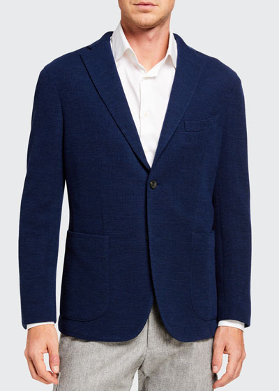 Men's Solid Jersey Two-Button Jacket
