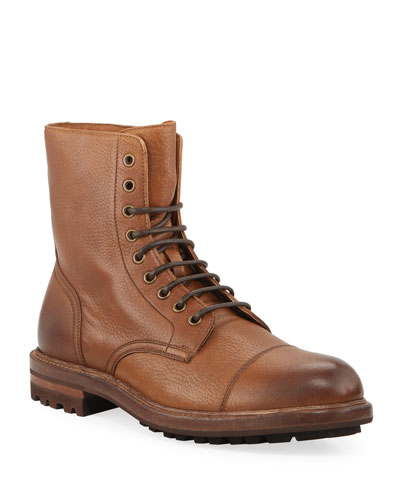 Men's Deerskin Leather Lace-Up Boots