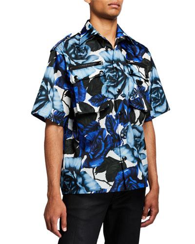 Men's Rose-Print Double-Pocket Sport Shirt