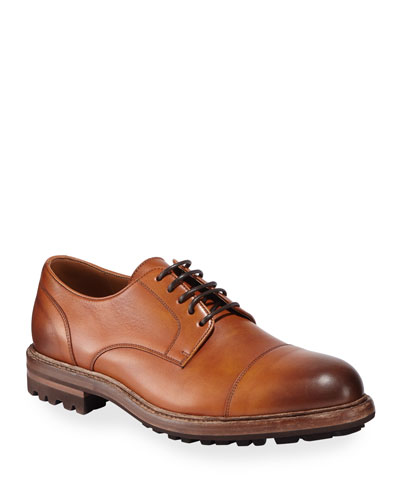 Men's Leather Lug-Sole Derby Shoes