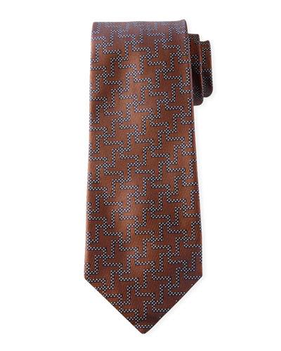 Men's Silk Exploded Houndstooth Tie, Tobacco