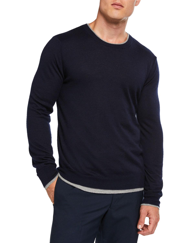 Gabriela Hearst Sweaters MEN'S REVERSIBLE CASHMERE-SILK CREWNECK SWEATER