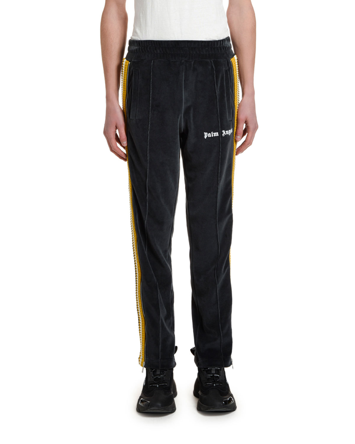 Palm Angels Pants MEN'S CHENILLE TRACK PANTS WITH SIDE STRIPES