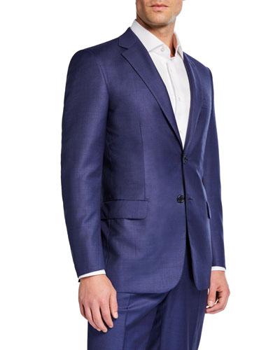Men's Solid Two-Piece Suit, High Blue