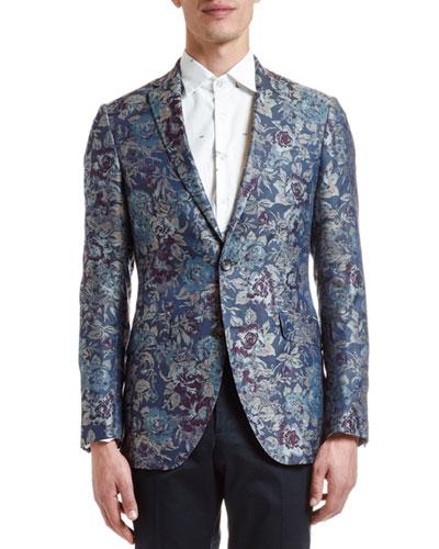 Men's Floral Jacquard Silk Evening Coat