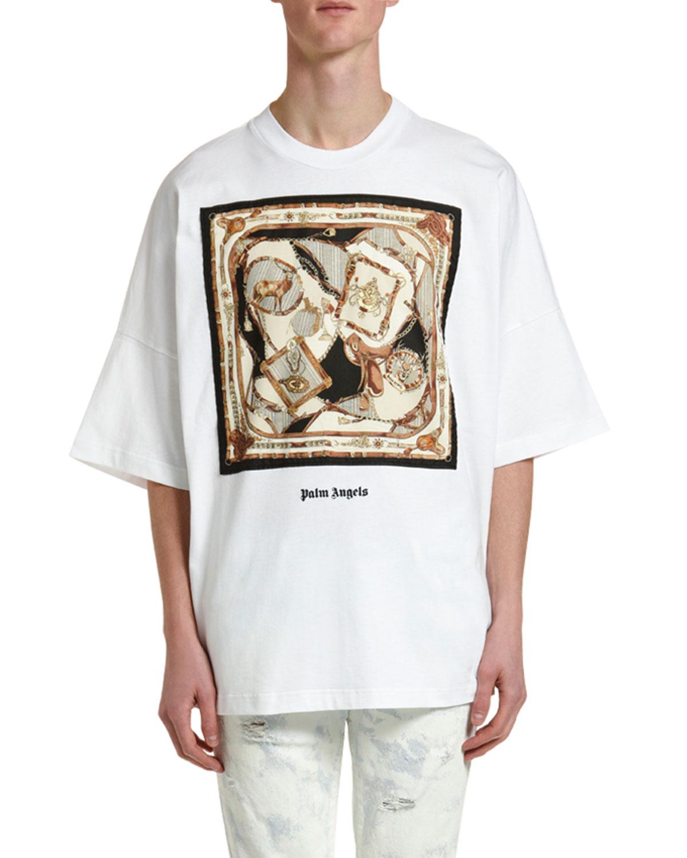 Palm Angels T-shirts MEN'S FOULARD OVERSIZED GRAPHIC T-SHIRT