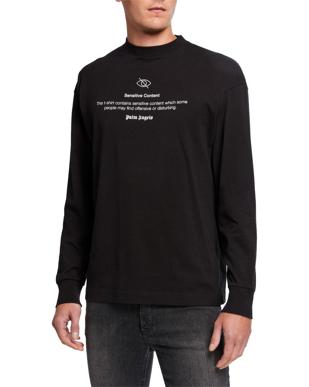 Palm Angels T-shirts MEN'S SENSITIVE CONTENT GRAPHIC LONG-SLEEVE T-SHIRT
