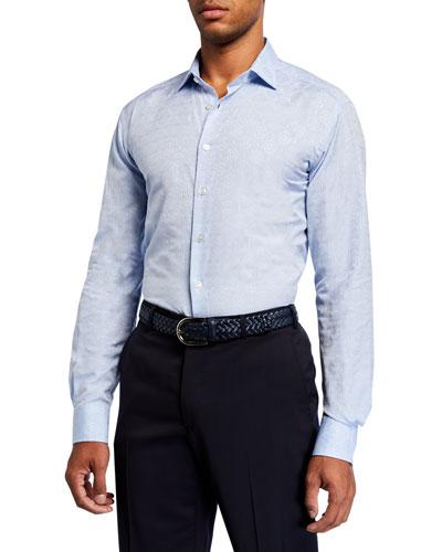 Men's Tile Jacquard Cotton Sport Shirt