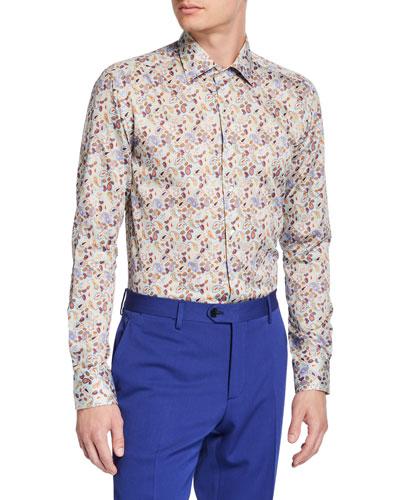 Men's Paisley Cotton Sport Shirt