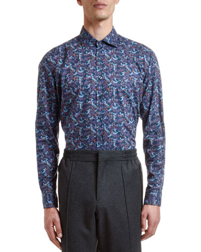 Men's Cotton Floral-Print Sport Shirt