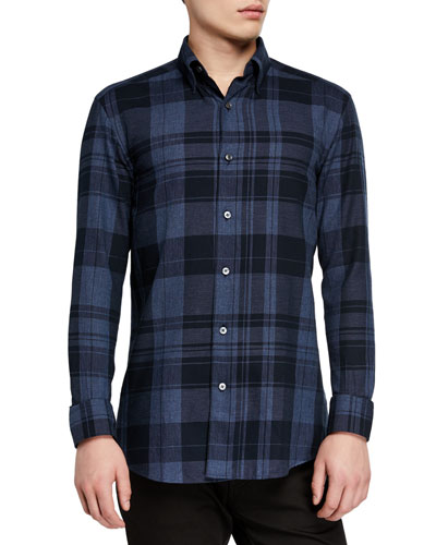 Men's Large Plaid Washed Sport Shirt